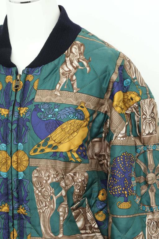 Hermes Reversible Silk Bomber Jacket Unisex 1990's 2