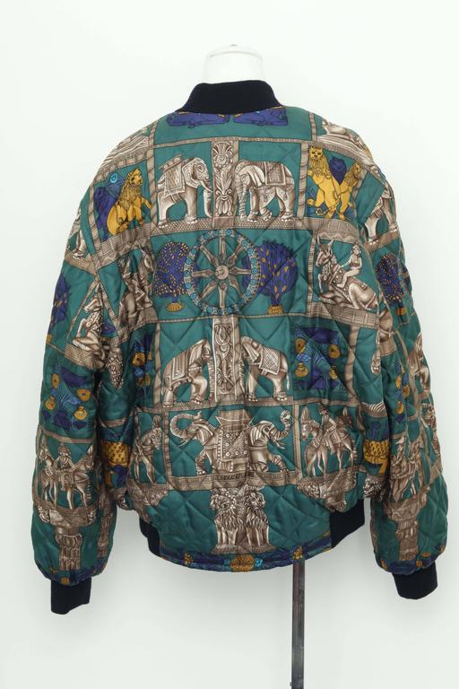 Hermes Reversible Silk Bomber Jacket Unisex 1990's 6