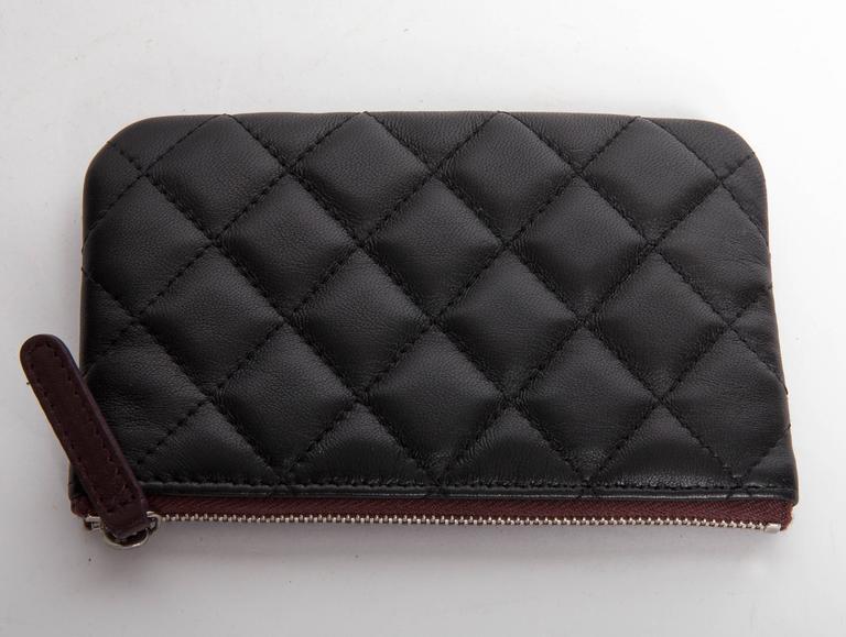 Black Chanel Top Zip Makeup Bag For Sale