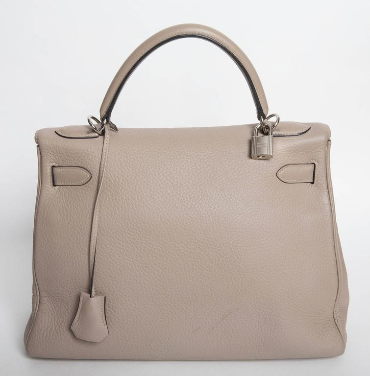 Hermes Etoupe Kelly in Clemence Leather with Palladium Hardware   2