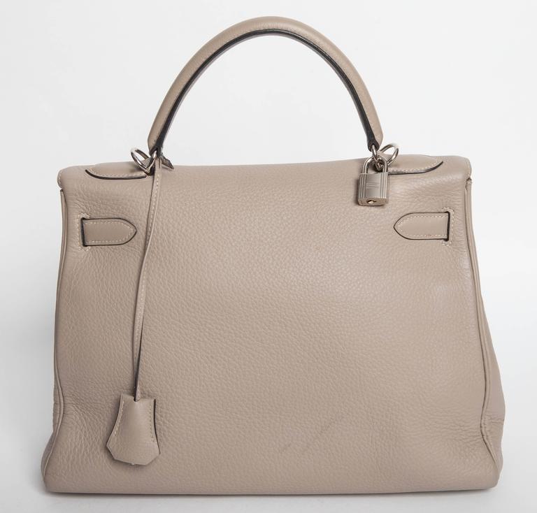Hermes Etoupe Kelly in Clemence Leather with Palladium Hardware   3