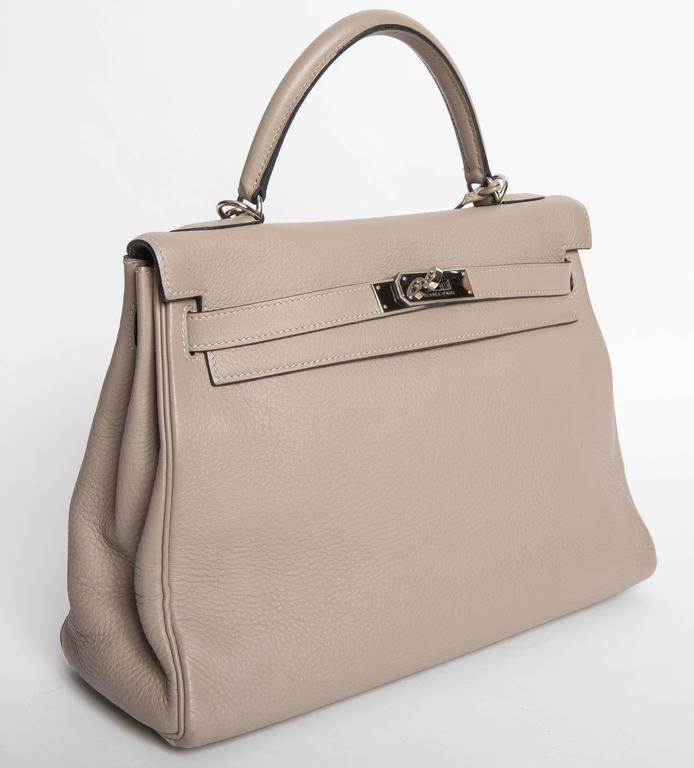 Hermes Etoupe Clemence Leather Palladium Hardware Kelly Bag In Excellent Condition For Sale In Westhampton Beach, NY