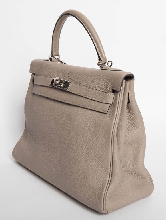 Women's Hermes Etoupe Clemence Leather Palladium Hardware Kelly Bag For Sale