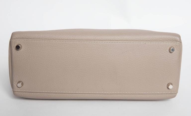 Hermes Etoupe Kelly in Clemence Leather with Palladium Hardware   6