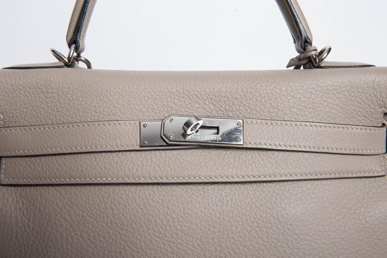 Hermes Etoupe Clemence Leather Palladium Hardware Kelly Bag For Sale 2
