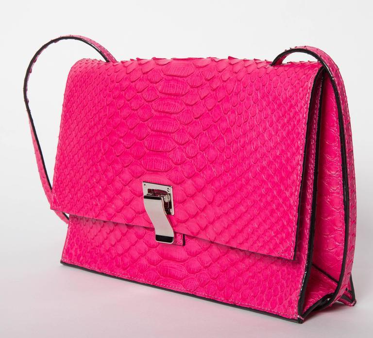 Proenza Schouler Hot Pink Python Shoulder Bag With Palladium Hardware w4tTJH