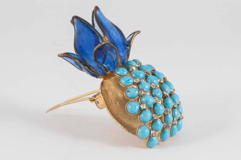 Poured glass 'pineapple' brooch, Maison Gripoix, 1960s 2
