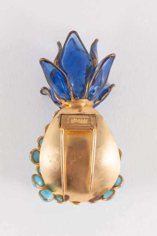 Poured glass 'pineapple' brooch, Maison Gripoix, 1960s 5