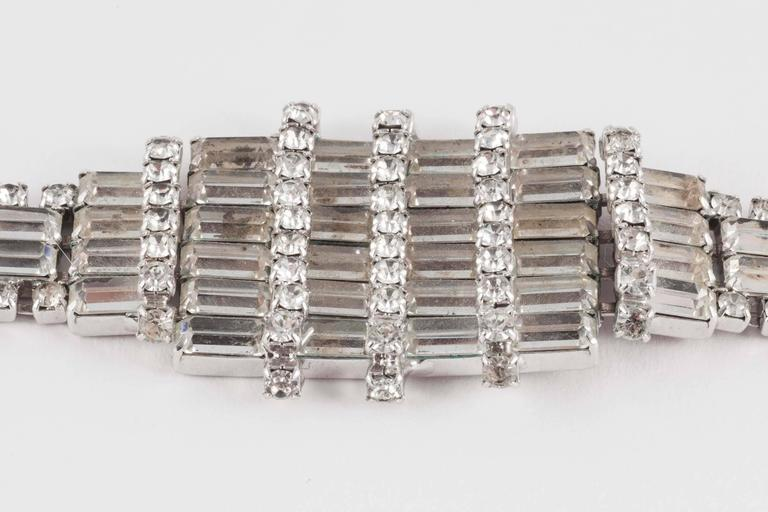 Women's Wonderfully architectural rhodium plated rhinestone cocktail bracelet, 1950s  For Sale