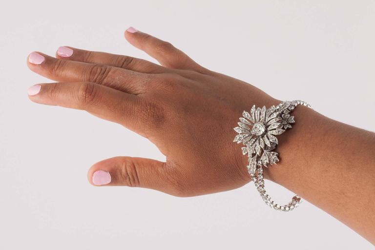 Rare paste 'en tremblant' flower bracelet by Christian Dior 5
