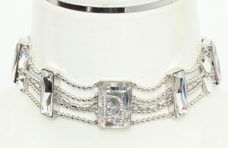 Extremely Rare Christian Dior Crystal Choker with Logos For Sale 2