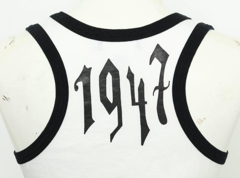 Women's Christian Dior White/Black Gothic Logo Tank Top T-shirt For Sale