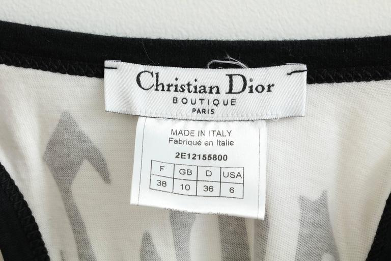 Christian Dior White/Black Gothic Logo Tank Top T-shirt For Sale 1
