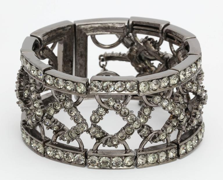 Christian Dior by John Galliano Rhinestone Bangle with Bow In Excellent Condition For Sale In New York, NY