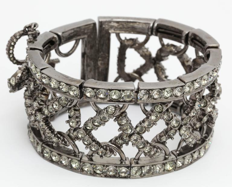 Christian Dior by John Galliano Rhinestone Bangle with Bow For Sale 3