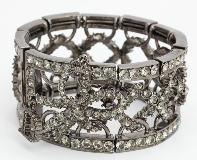Christian Dior by John Galliano Rhinestone Bangle with Bow For Sale 4