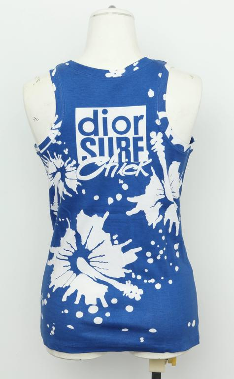 Christian Dior Blue/White Logo Tank Top T-shirt For Sale 1