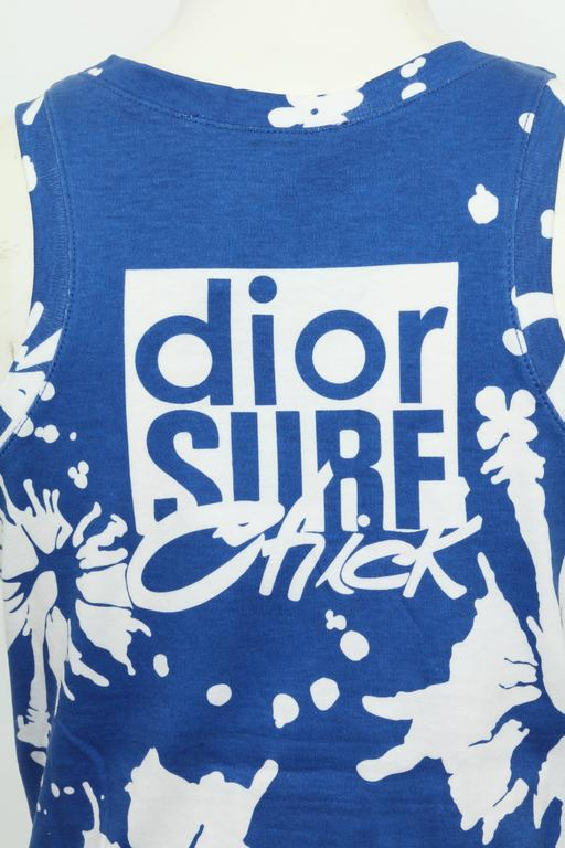 Christian Dior Blue/White Logo Tank Top T-shirt For Sale 2
