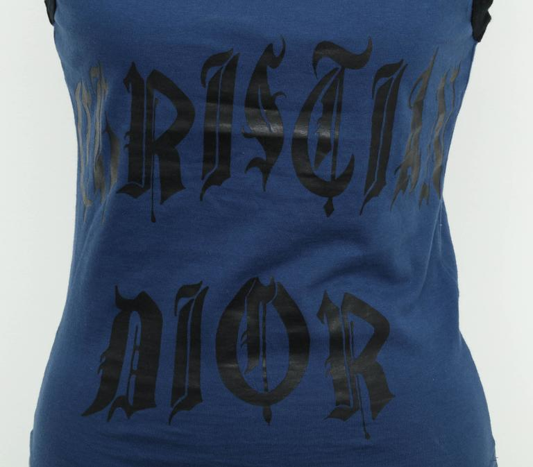 Christian Dior Blue/Black Gothic Logo Tank Top T-shirt 2