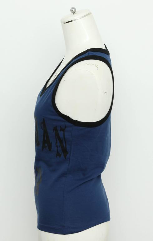 Christian Dior Blue/Black Gothic Logo Tank Top T-shirt 5
