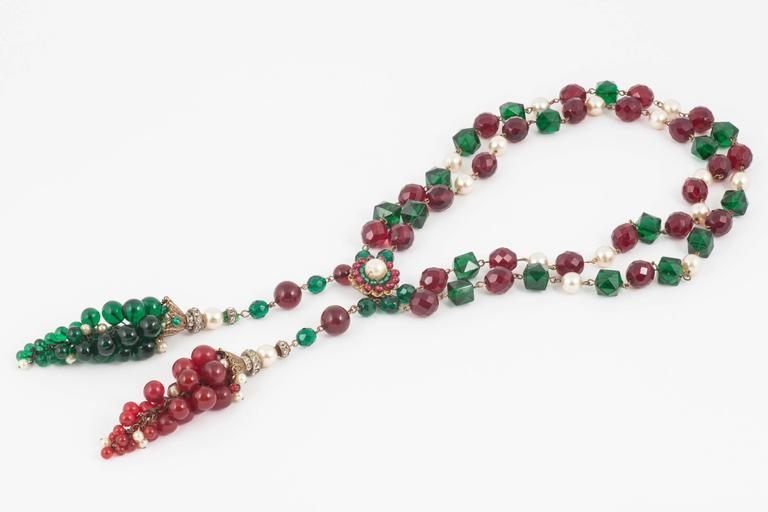 Exquisite Chanel handmade Moghul style necklace/sautoir by Maison Gripoix, 1930s For Sale 1