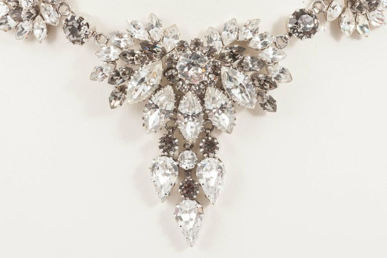 In the chic and sophisticated combination of grey and clear paste, this elegant necklace is made from the best quality hand set Austrian crystals. Although attributed to Christian Dior, this necklace was made in Austria in the 1960s and is a