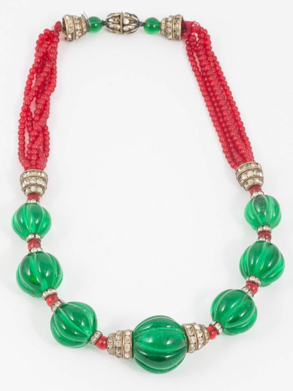 Chanel Moghul style emerald ruby glass necklace, 1930s In Excellent Condition For Sale In London, GB