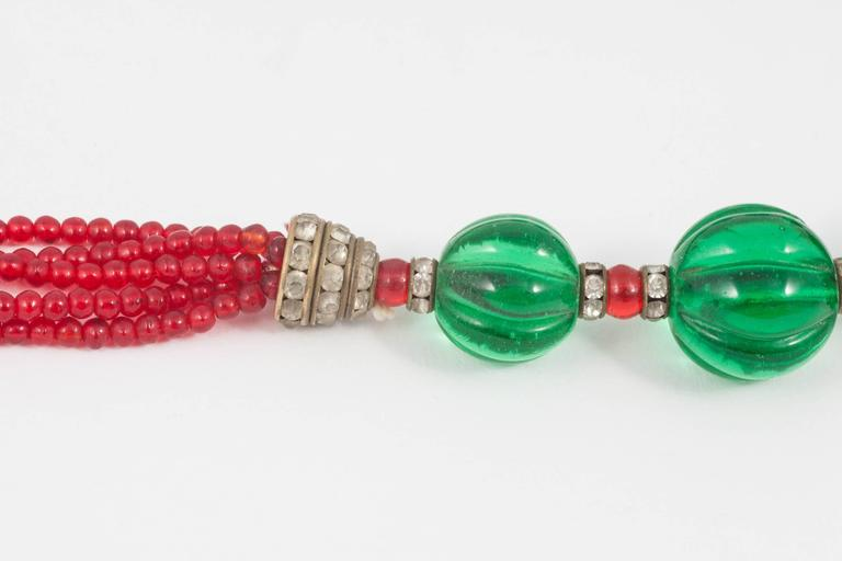 Women's Chanel Moghul style emerald ruby glass necklace, 1930s For Sale