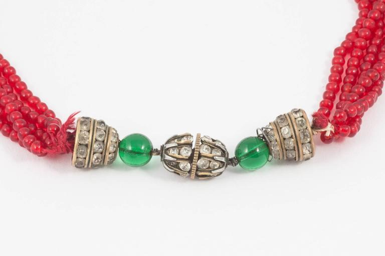 Chanel Moghul style emerald ruby glass necklace, 1930s For Sale 1