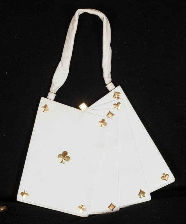 Anne-Marie of Paris white leather and gilt 'Hand of Cards' handbag. For Sale 2