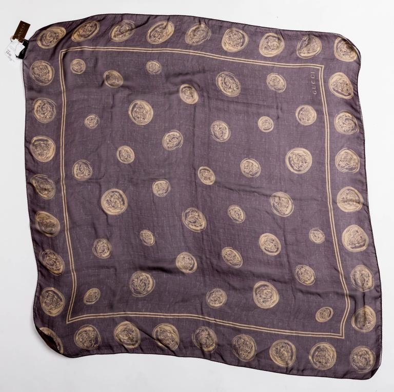 Gray Gucci Aubergine Silk Scarf with Gold Coins  For Sale