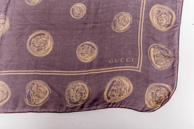 Gucci Aubergine Silk Scarf with Gold Coins  In New Condition For Sale In Westhampton Beach, NY