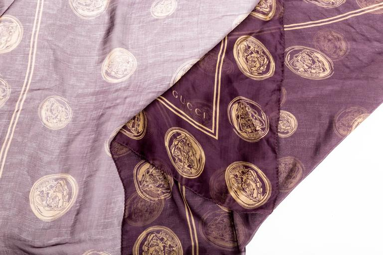 Women's Gucci Aubergine Silk Scarf with Gold Coins  For Sale
