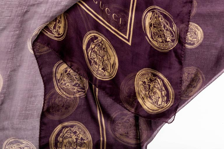 Gucci Aubergine Silk Scarf with Gold Coins  For Sale 1