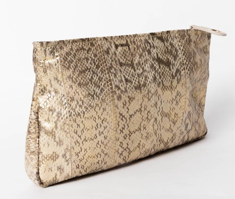 Jimmy Choo Gold and Tan Snakeskin Clutch with Horsebit Accents In Good Condition For Sale In Westhampton Beach, NY