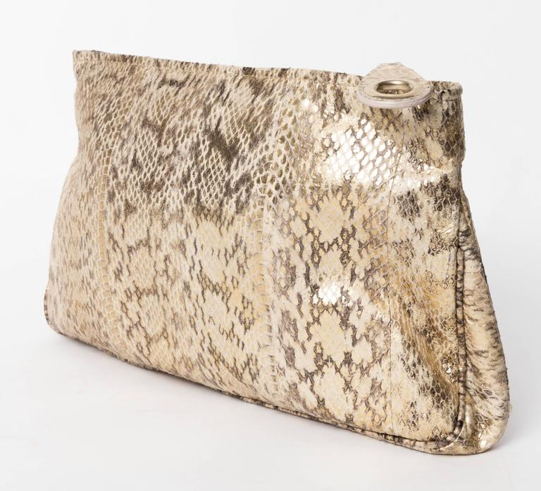Women's Jimmy Choo Gold and Tan Snakeskin Clutch with Horsebit Accents For Sale