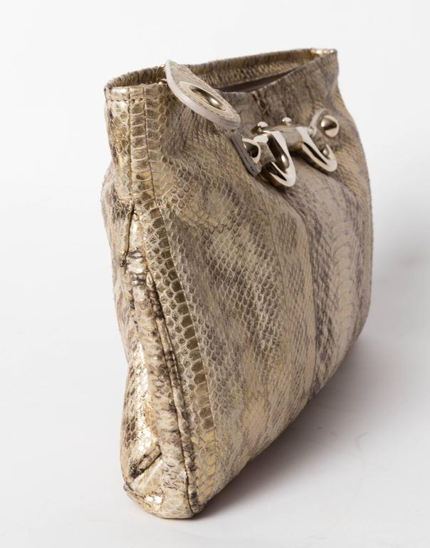 Jimmy Choo Gold and Tan Snakeskin Clutch with Horsebit Accents For Sale 1