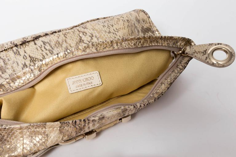 Jimmy Choo Gold and Tan Snakeskin Clutch with Horsebit Accents For Sale 3