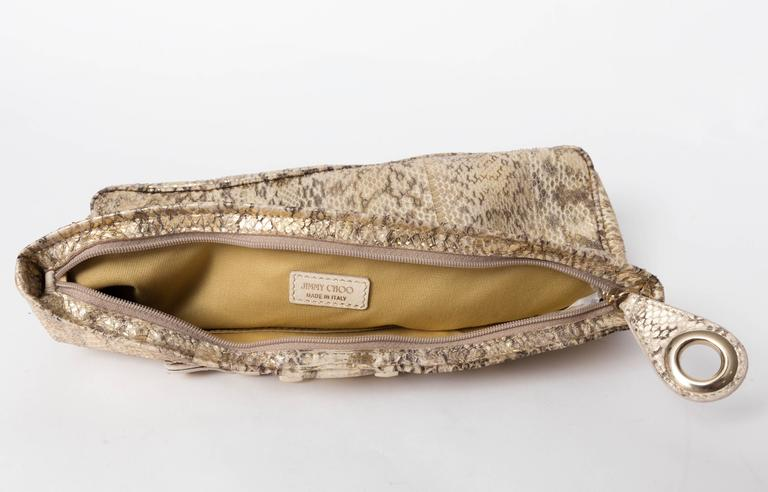 Jimmy Choo Gold and Tan Snakeskin Clutch with Horsebit Accents For Sale 4