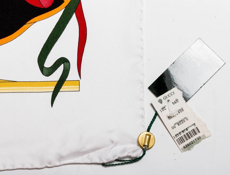 Vintage Silk Banners Gucci Scarf 3