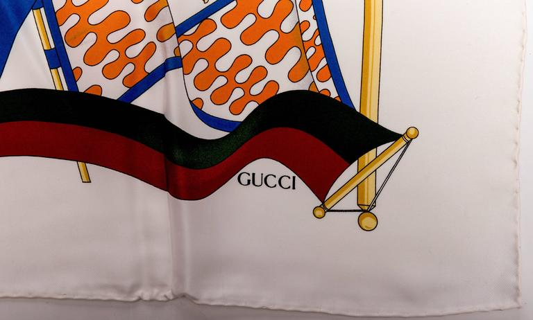 Vintage Silk Banners Gucci Scarf 4