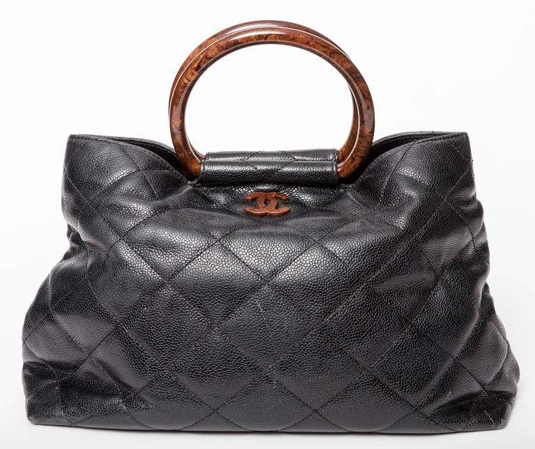 Chanel Caviar Top Handle Tote With Tortoise Resin Handles