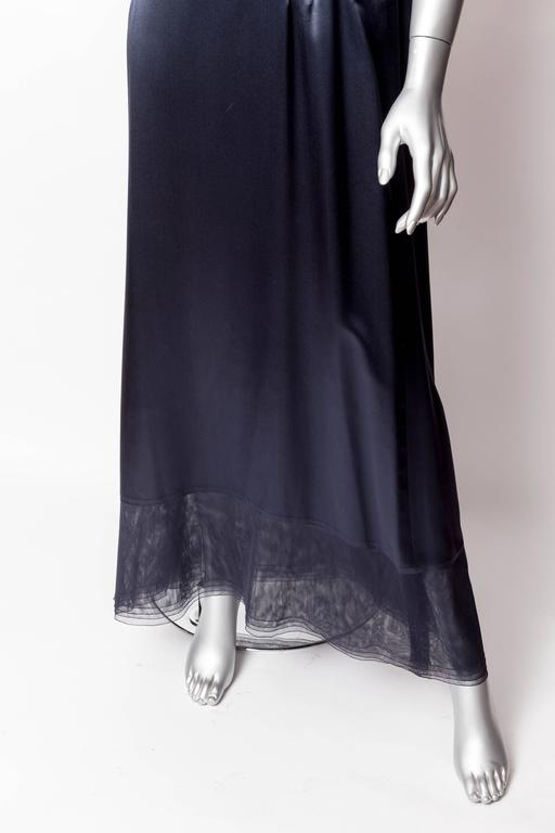 Chanel Dark Blue Silk and Tulle Long Dress with Kimono Style Jacket  10
