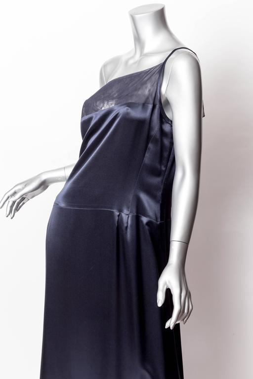 Chanel Dark Blue Silk and Tulle Long Dress with Kimono Style Jacket  6