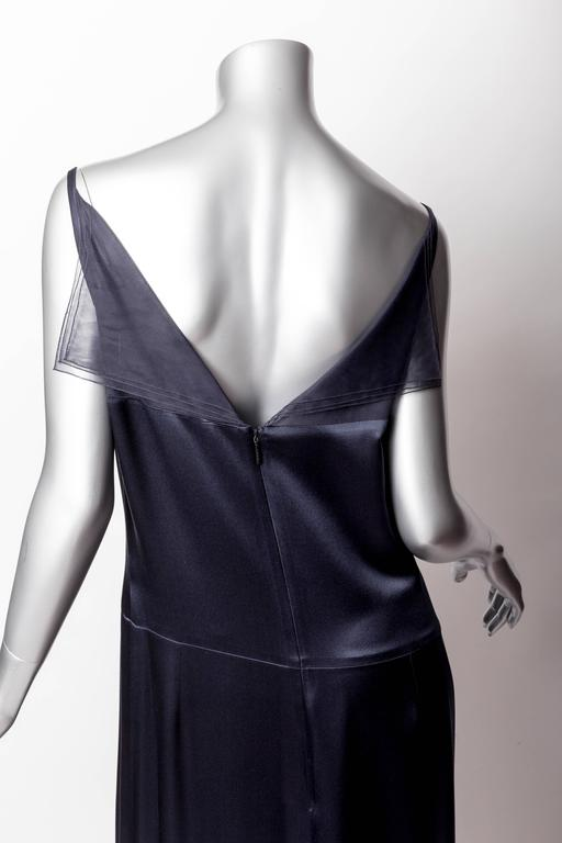 Chanel Dark Blue Silk and Tulle Long Dress with Kimono Style Jacket  3