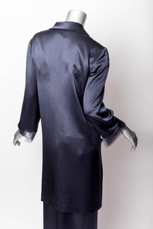 Chanel Dark Blue Silk and Tulle Long Dress with Kimono Style Jacket  5