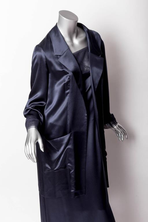 Chanel Dark Blue Silk and Tulle Long Dress with Kimono Style Jacket  8