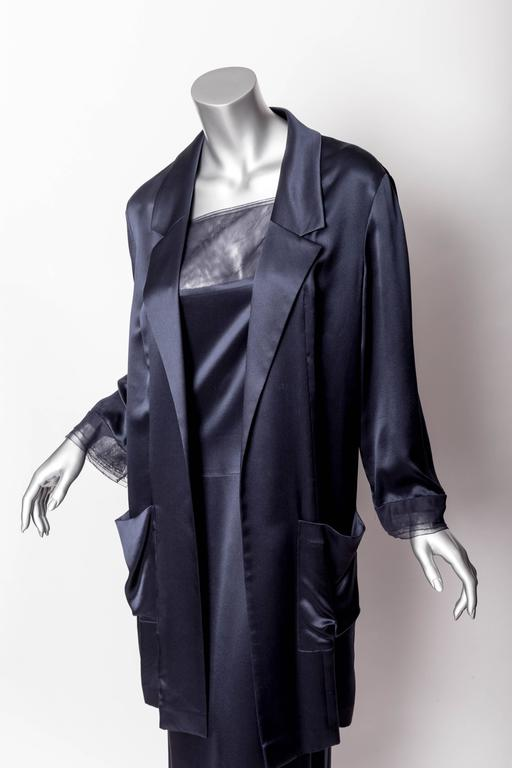 Chanel Dark Blue Silk and Tulle Long Dress with Kimono Style Jacket  4
