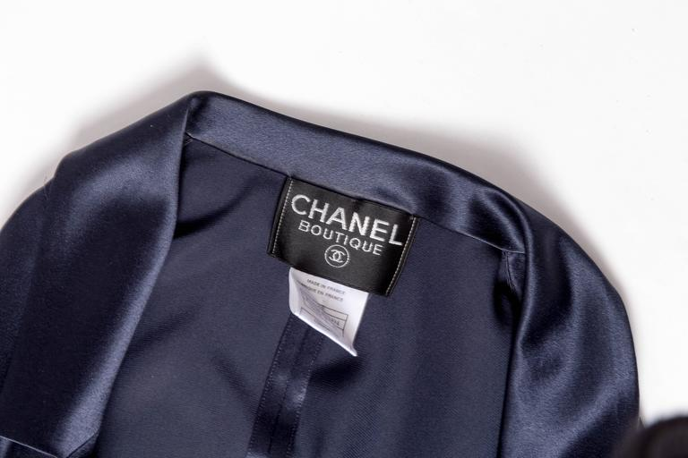 Chanel Dark Blue Silk and Tulle Long Dress with Kimono Style Jacket  9