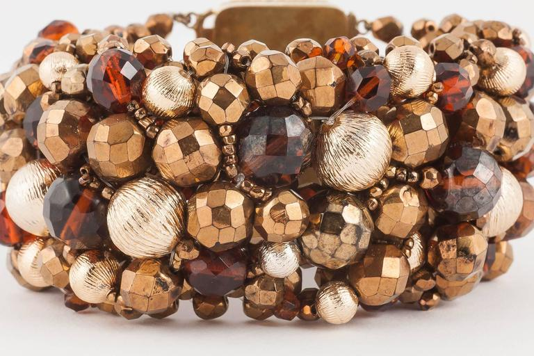 Wide beaded bracelet by Coppola e Toppo, 1960s In Excellent Condition For Sale In London, GB